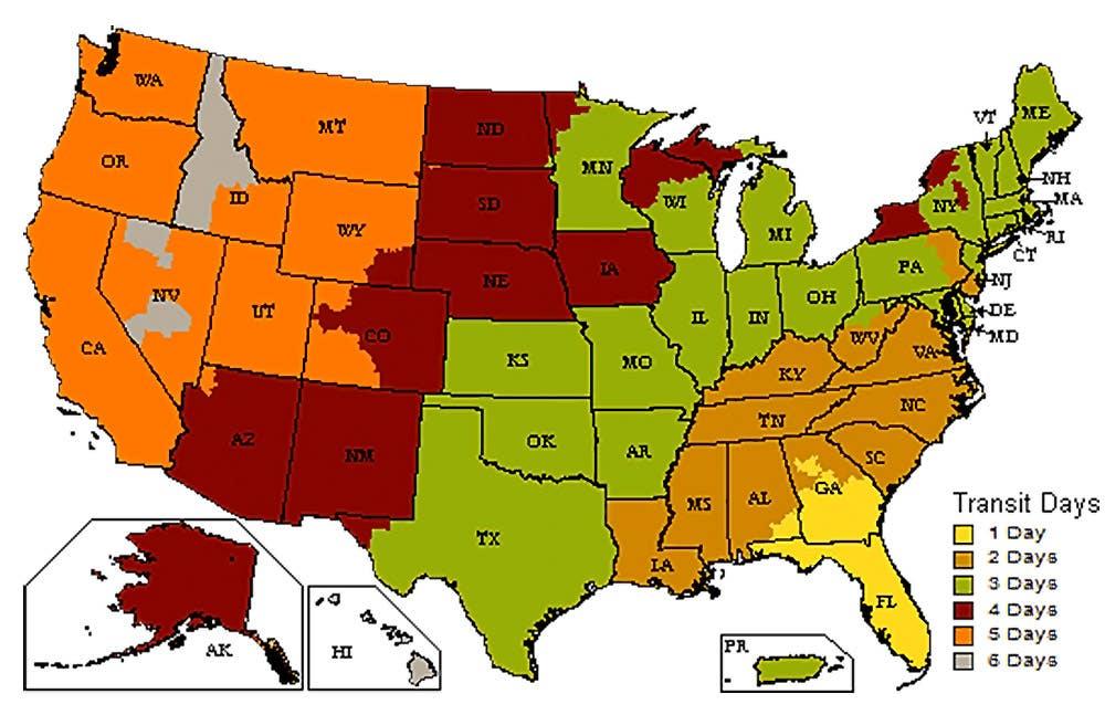 UPS Ground transit times map